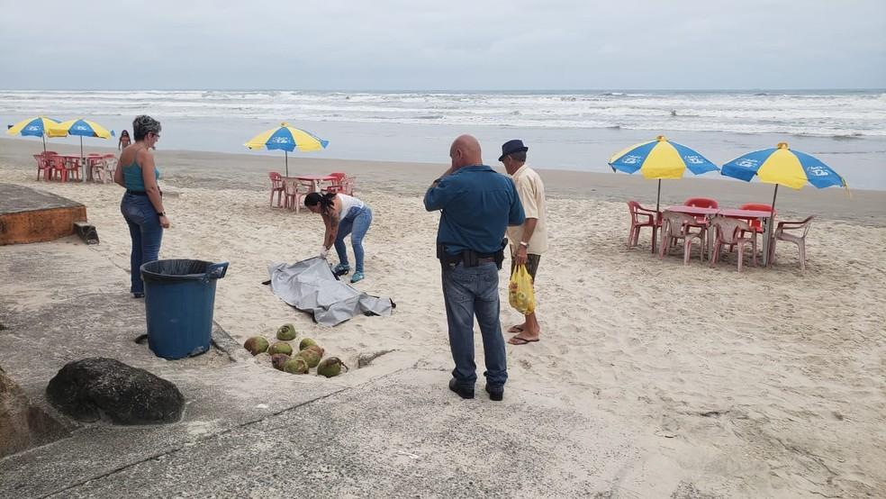 Corpo de turista que se afogou foi encontrado em Itanhaém, SP — Foto: Reprodução/Top Litoral