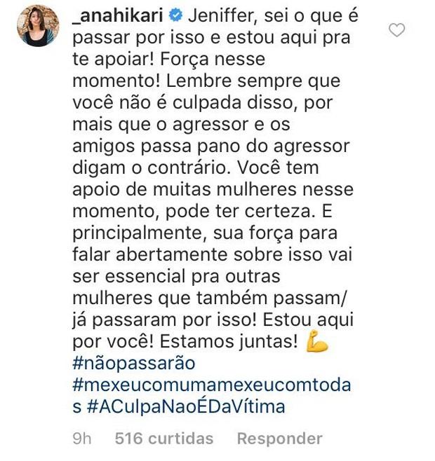 Comentários de famosos na publicação de Jeniffer Oliveira (Foto: Reprodução/Instagram)