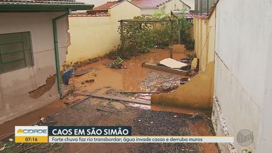 Moradores tentam minimizar prejuízos após tempestade em São Simão: 'momento de muito terror'