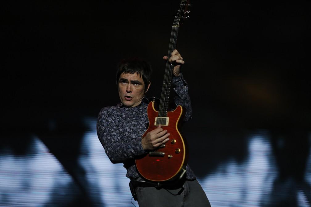 Samuel Rosa canta no show do Skank no Palco Mundo do Rock in Rio 2017 (Foto: Marcos Serra Lima/G1)