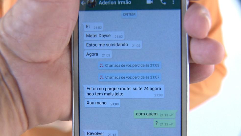 Irmão divulgou mensagens que recebeu do suspeito no momento do crime, na PB — Foto: Divulgação/TV Paraíba