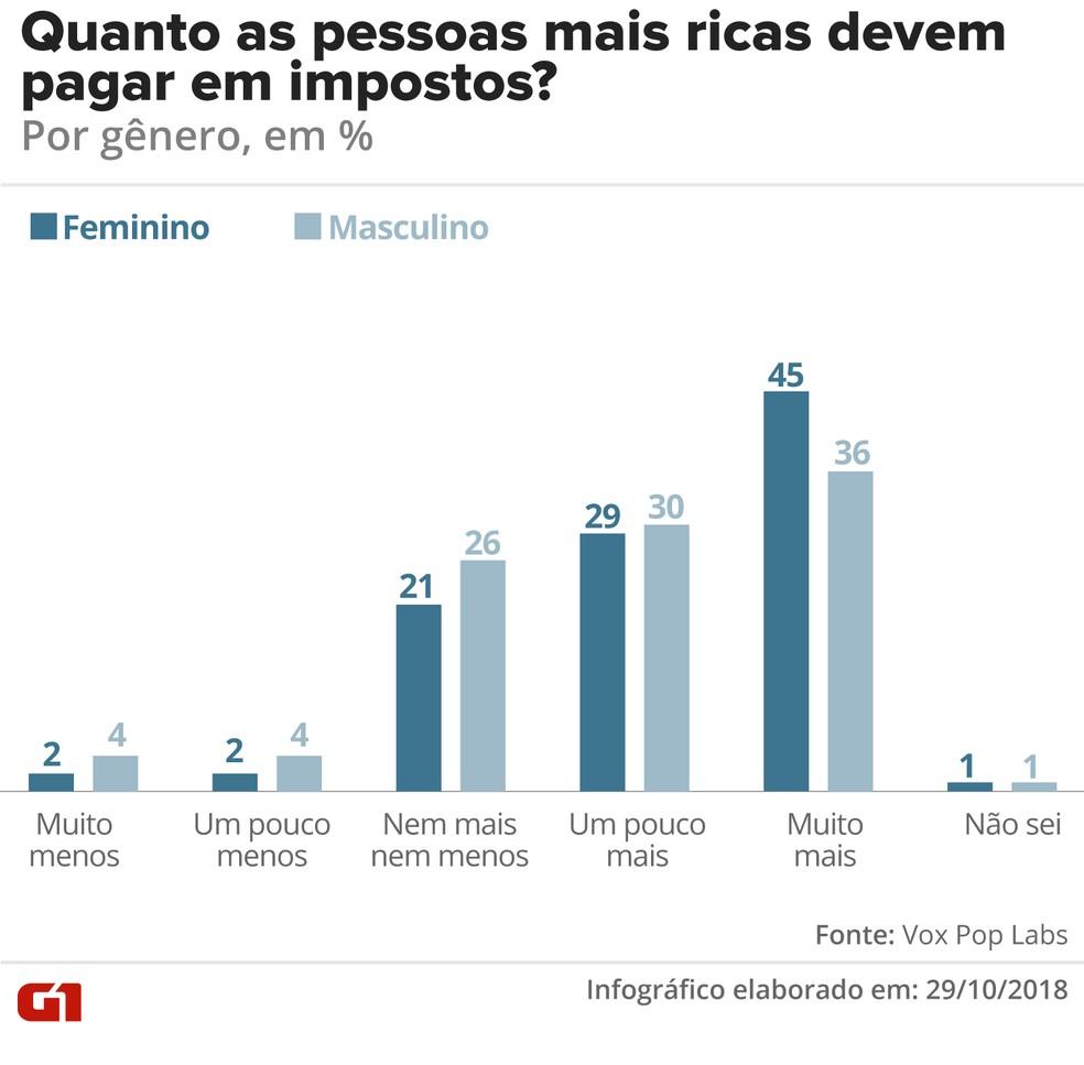 Quanto as pessoas ricas devem pagar em impostos - por gênero — Foto: G1