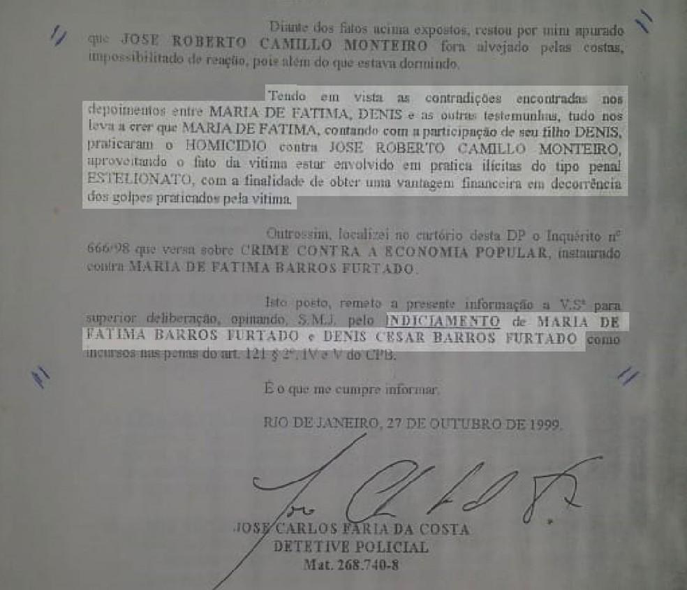 Documento mostra perícia ligando Dr. Bumbum e mãe dele, Maria de Fátima, a um homicídio em 1997 (Foto: Reprodução)