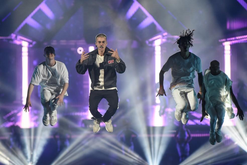 Justin Bieber em show no Allianz Parque, em São Paulo (Foto: Flavio Moraes/G1)