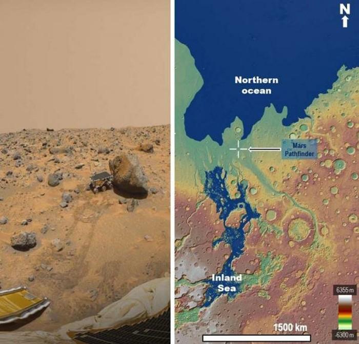 À esquerda: visão do veículo Sojourner do módulo de aterrissagem Pathfinder. Uma grande proporção das rochas poderia ter sido corroída por inundações transbordantes. À direita: reconstrução do mar há 3,4 bilhões de anos  (Foto: MOLA Science Team, MSS, JPL, NASA)