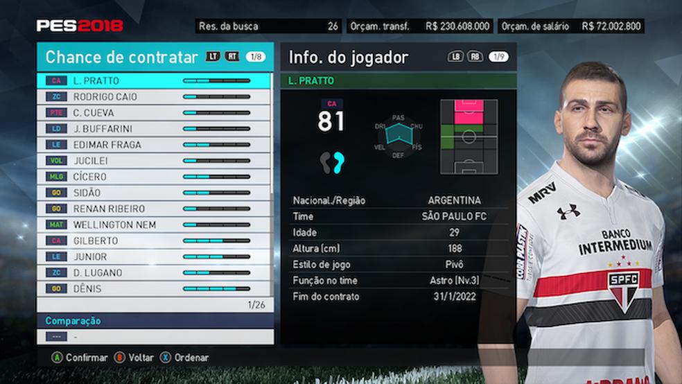 ... Lucas Pratto é o melhor jogador do Brasileirão em PES 2018 (Foto   Reprodução  6e5ee1cb8f21e