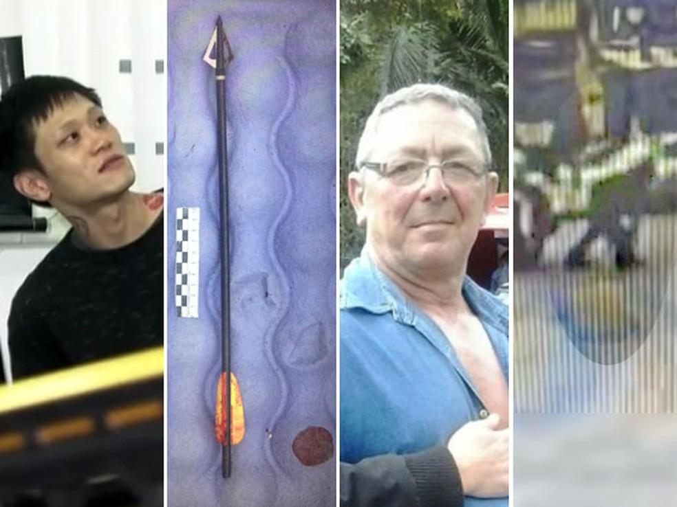 Denis Kim foi preso por atirar uma flecha no carroceiro Aldemir Pontes, em 2016. — Foto: Reprodução / TV Globo / Polícia Civil / Arquivo Pessoal