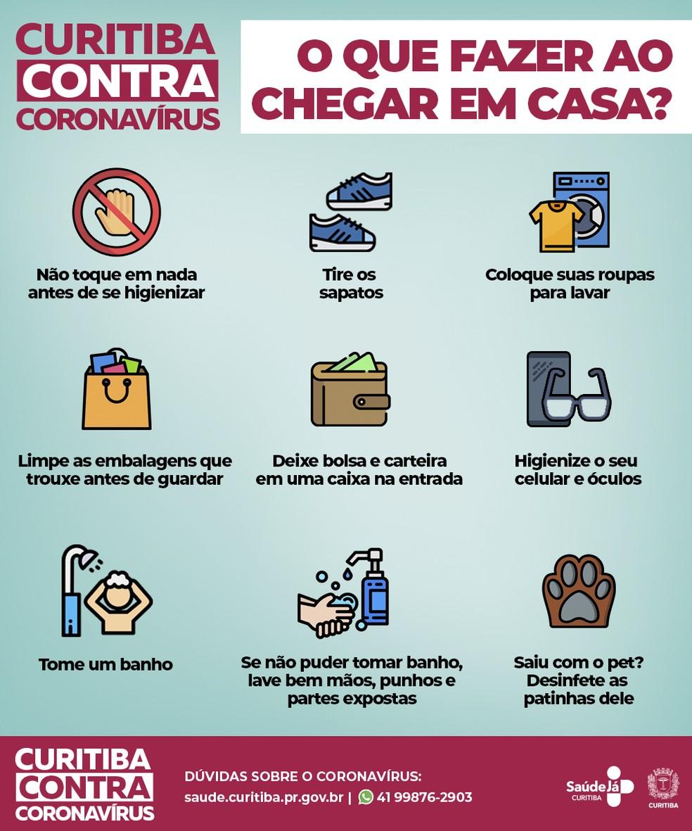 Prefeitura também recomenda higienizar óculos e celulares — Foto: Divulgação/Prefeitura de Curitiba