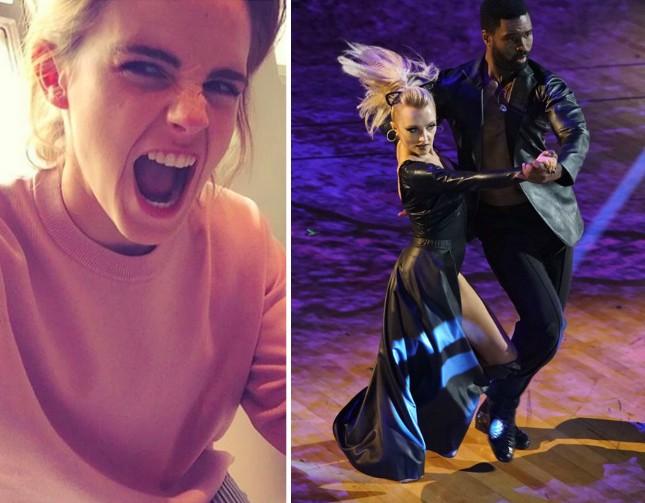 A atriz Emma Watson e sua amiga atriz Evanna Lynch, também estrela da saga Harry Potter, em sua participação no reality sow de dança exibido na TV dos EUA (Foto: Instagram/Divulgação)
