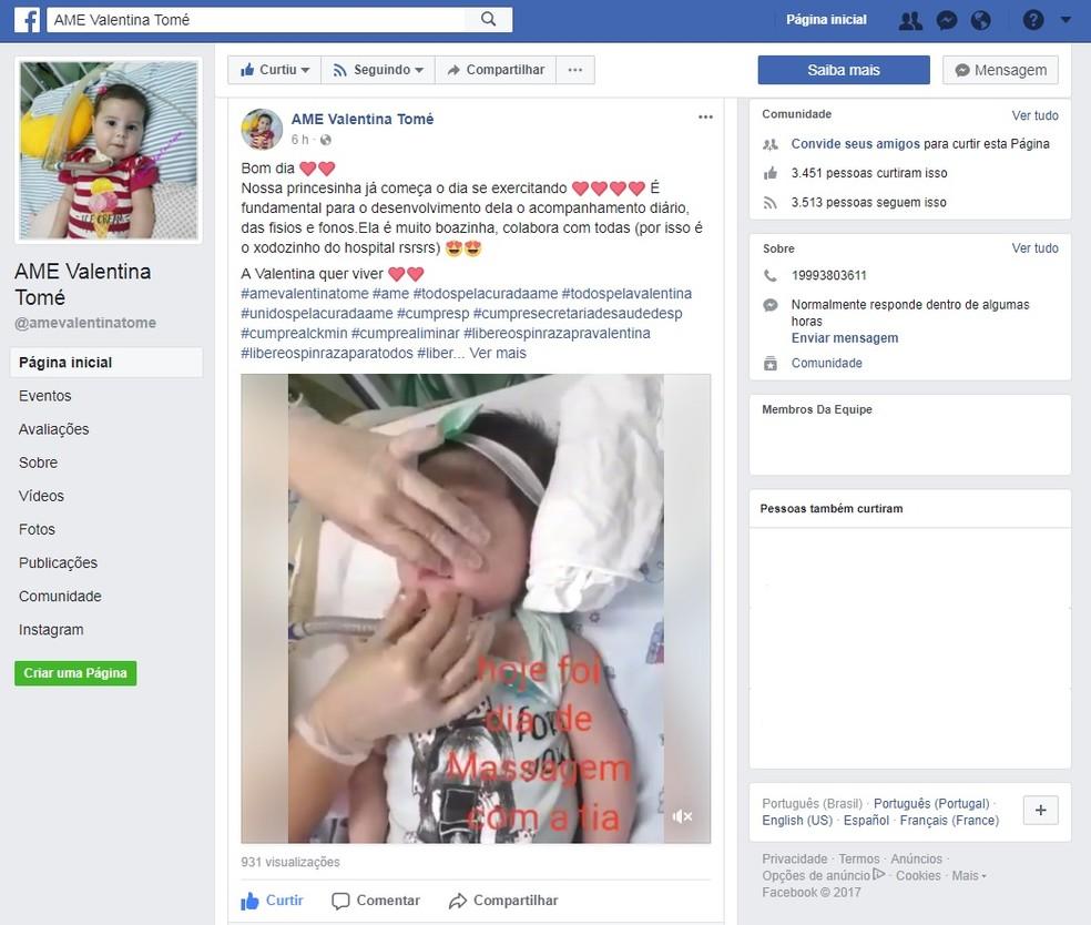 Família criou página em rede social para buscar ajuda financeira, Piracicaba (Foto: Reprodução/Facebook/AME Valentina Tomé)