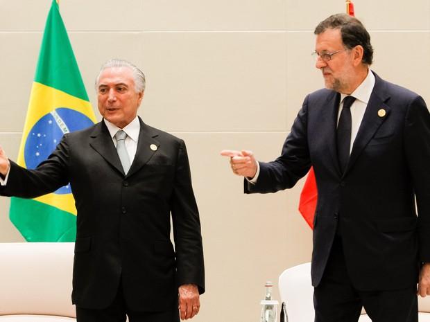 Presidente Michel Temer durante encontro bilateral com o Primeiro-Ministro da Espanha, senhor Mariano Rajoy, na cúpula do G20  (Foto: Beto Barata/PR)