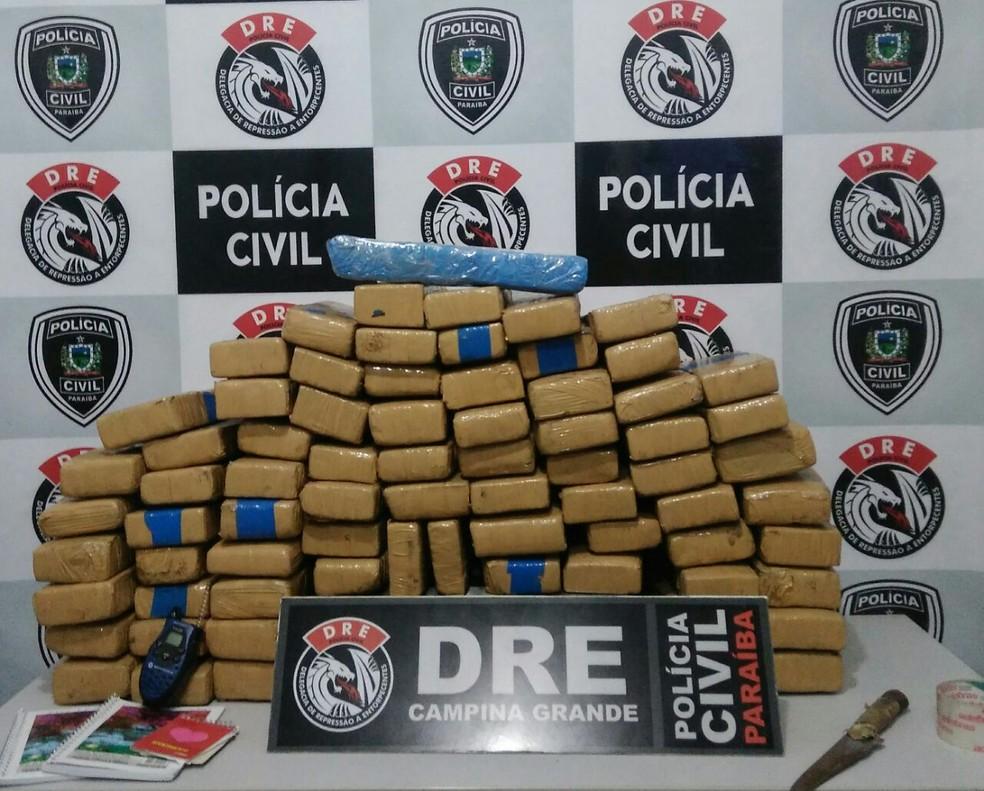 Operação dragão da Polícia Civil apreendeu 100 quilos de maconha em Campina Grande. (Foto: Divulgação / DRE/CG)