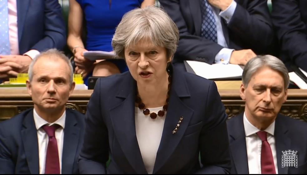 -  Theresa May anunciou nesta quarta-feira  14  medidas contra Rússia após ex-espião russo ter sido envenenado na Inglaterra  Foto: AFP