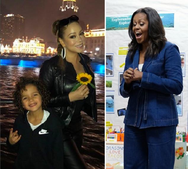 Mariah Carey com o filho e a ex-primeira-dama dos EUA, Michelle Obama (Foto: Instagram/Getty Images)