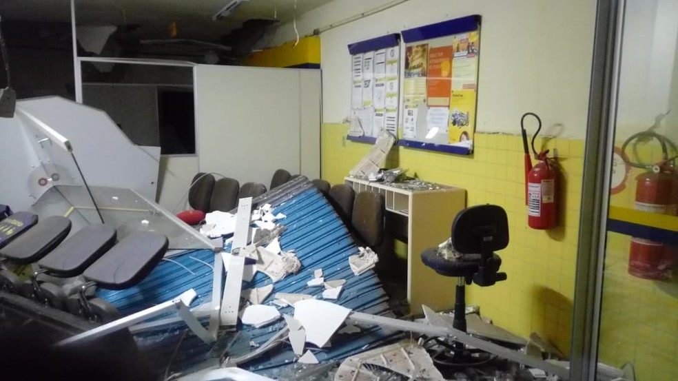 Quadrilha utilizou explosivos para arrombar cofre em Jundiá, no RN (Foto: Polícia Militar/Divulgação)