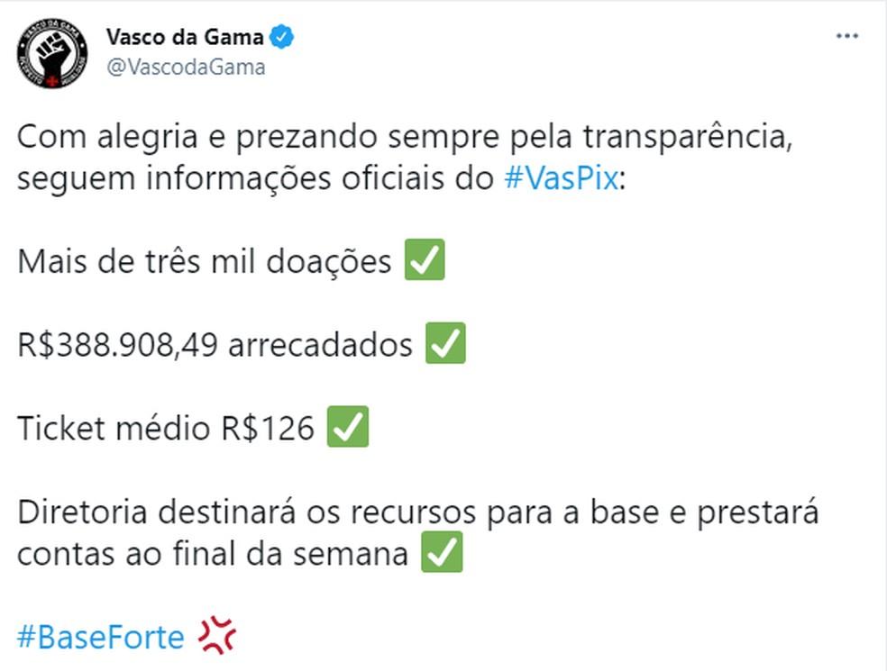 Vasco destinará dinheiro arrecado via #VasPix às divisões de base do clube — Foto: Reprodução