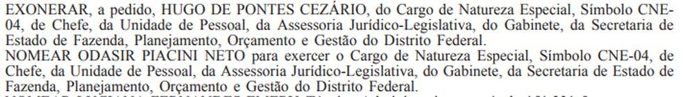Portaria que nomeou sócio de Ibaneis Rocha para cargo no GDF — Foto: Reprodução