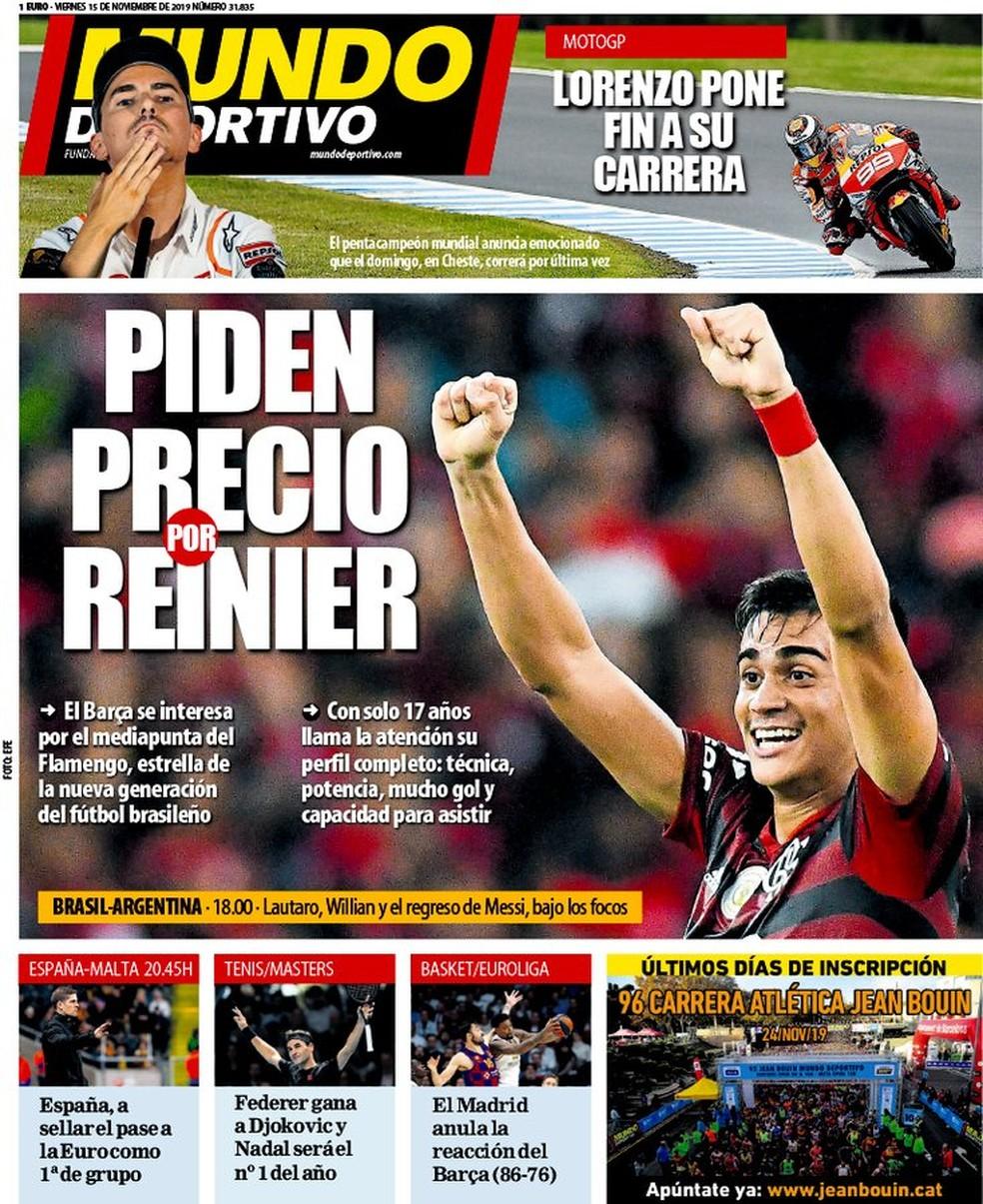 """Reinier é destaque na imprensa espanhola — Foto: Reprodução """"Mundo Deportivo"""""""