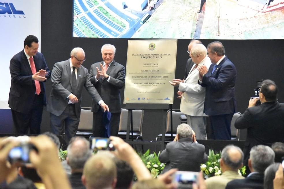 Presidente Michel Temer esteve em Campinas para inauguração do projeto Sirius. — Foto: Fernando Evans/G1