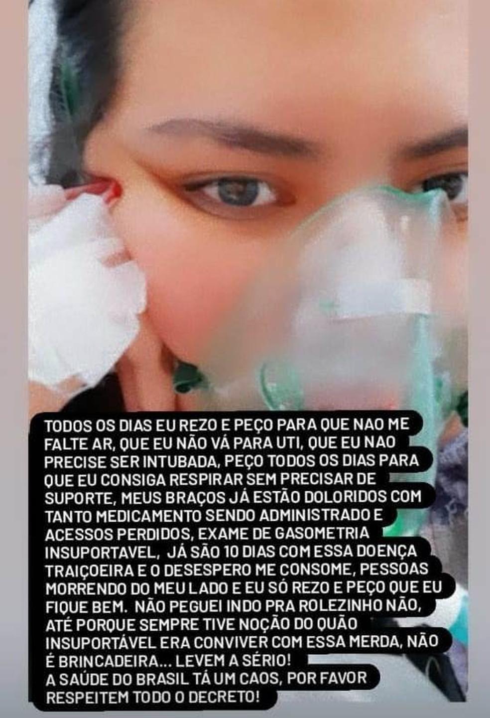 Estagiária de enfermagem, de Sorocaba, fez postagens nas redes sociais para alertar sobre a gravidade da doença — Foto: Reprodução/ Instagram