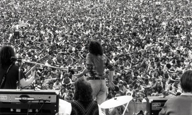 Joe Cocker no Festival de Woodstock, em agosto de 1969