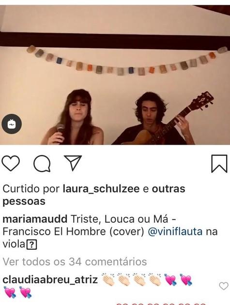 Maria Maud e o flautista Vinicius (Foto: Reprodução)