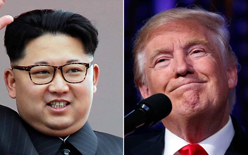 Combinação de fotos mostra o ditador norte-coreano Kim Jong-un e o presidente eleito nos Estados Unidos Donals Trump (Foto: AP Photo/Wong Maye-E, File / Evan Vucci)