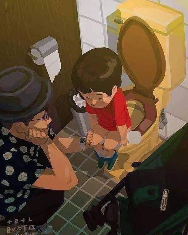 Ilustração em que o pai está agachado ao lado do filho que tenta usar o vaso sanitário (Foto: Reprodução/Facebook)