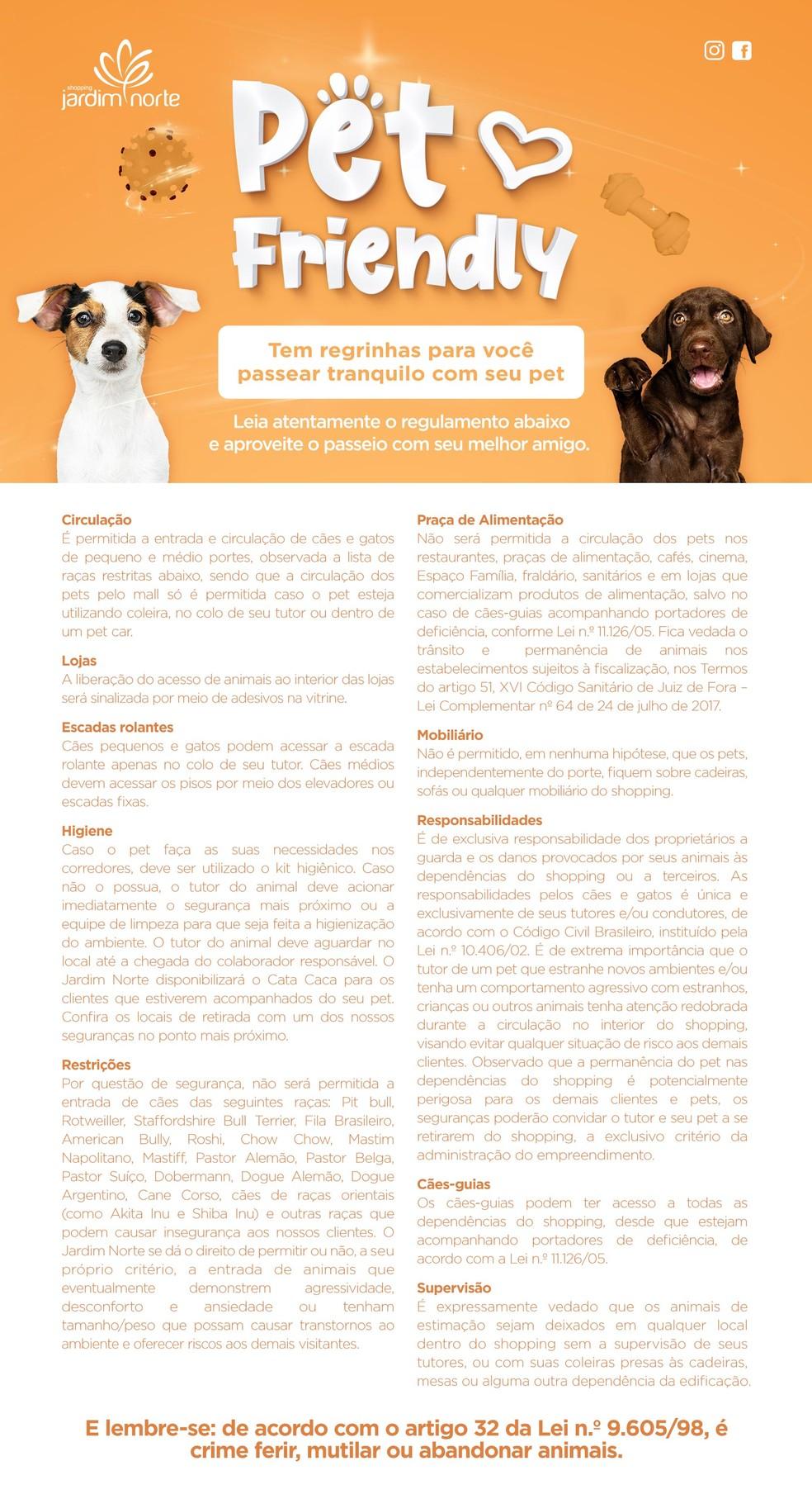 Regulamento do Shopping Jardim Norte para passeios com cães — Foto: Shopping Jardim Norte/Divulgação