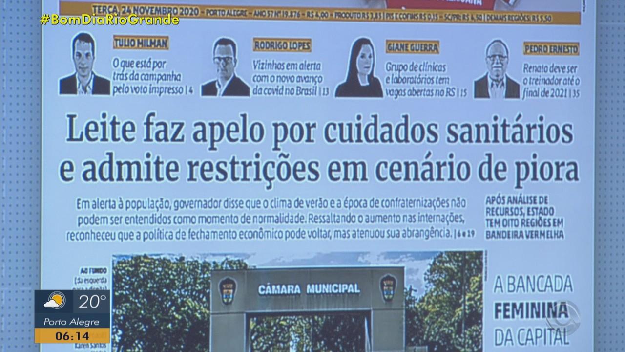 Confira as principais capas dos jornais do RS desta terça-feira (24)