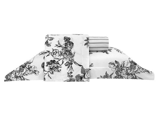 Jogo de lençol para casal, com 4 peças, percal 180 fios, de Alexandre Herchcovitch, modelos Ravenna ou Bird. Zelo, de R$ 169,90 por R$ 129,90 (Foto: Divulgação)