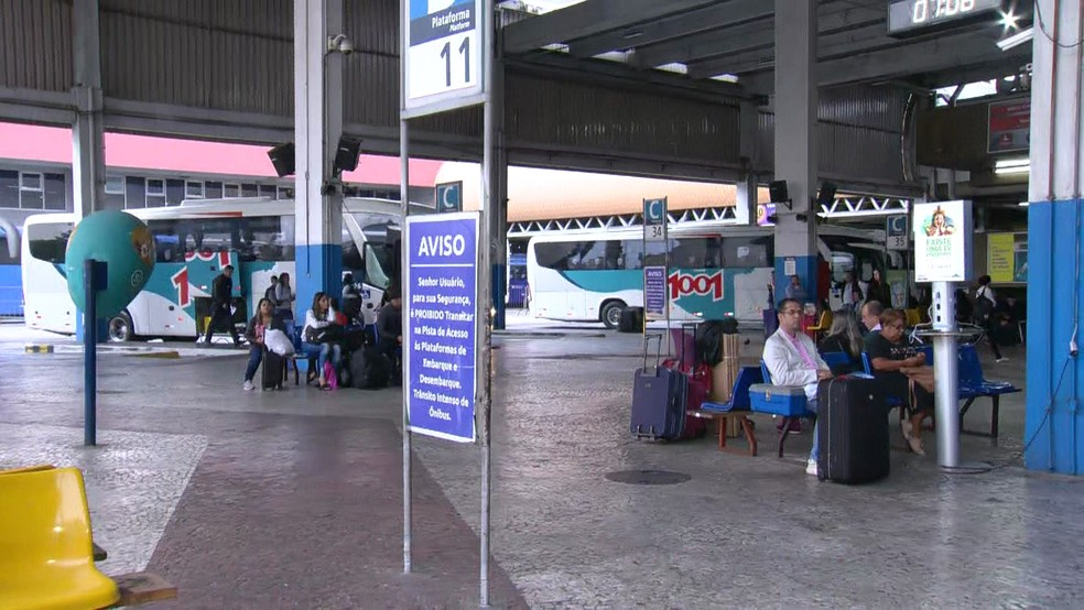 Movimento de passageiros na Rodoviária Novo Rio — Foto: Reprodução/ TV Globo