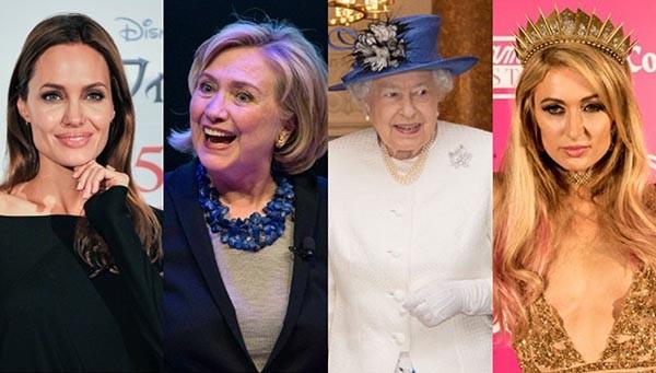Angelina Jolie, Hilary Clinton, Rainha Elizabeth II, Paris Hilton (Foto: Getty Images)