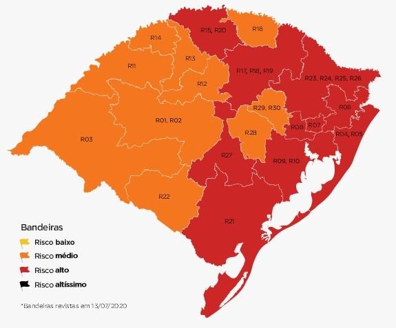 Metade das regiões do RS fica com bandeira vermelha na 10ª semana do distanciamento controlado