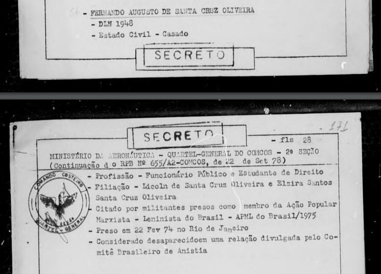 Documento prova que ditadura prendeu Fernando Santa Cruz