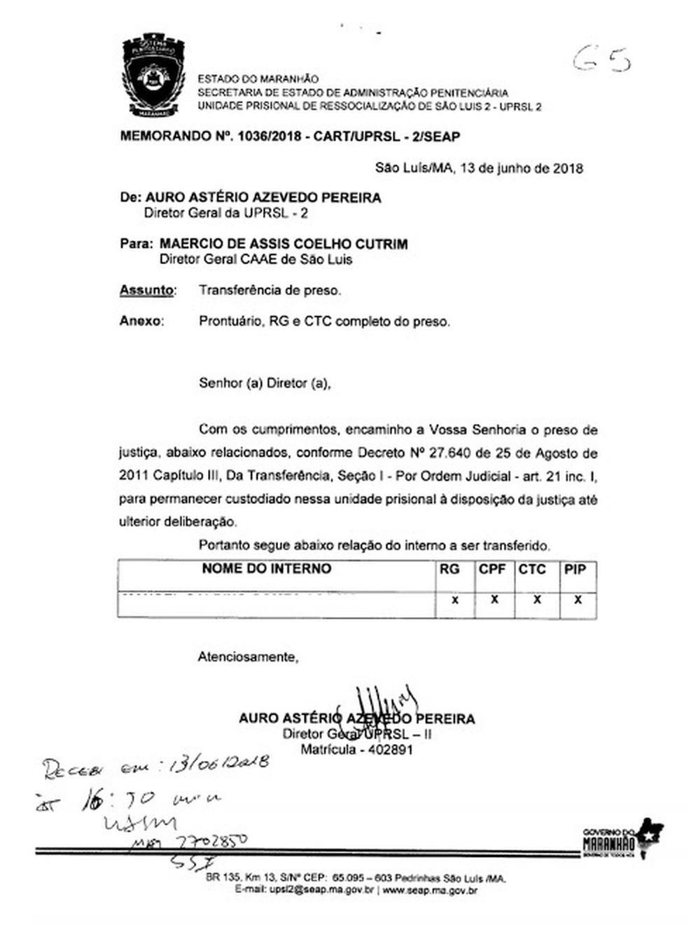 Memorando que encaminha detento para a Casa de Assistência ao Albergado e Egresso (CAAE) de São Luís. (Foto: Divulgação)