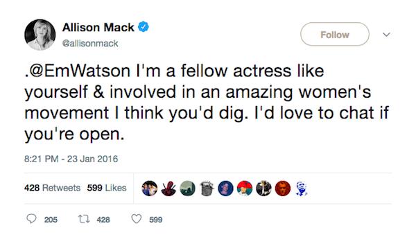 A primeira mensagem enviada por Allison Mack à atriz Emma Watson (Foto: Twitter)