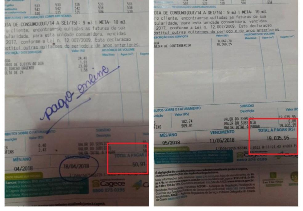 O comparativo das contas de Brena Oliveira mostra a diferença de R$ 50,91 em abril para R$ 19.035,95 em maio.  (Foto: Brena Vieira/Arquivo Pessoal)