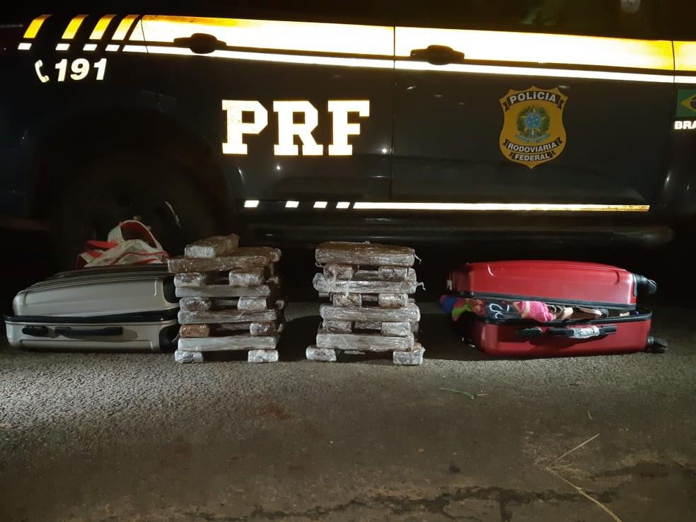 Maconha estava no bagageiro do ônibus abordado em Guaiçara  — Foto: Polícia Rodoviária Federal / Divulgação