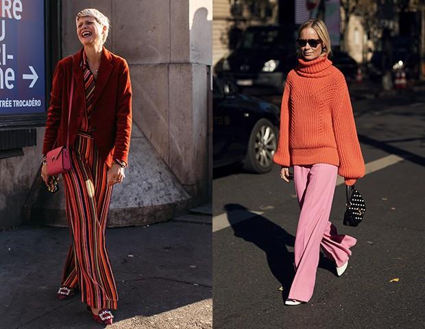 Vermelho e rosa no street style (Foto: Imaxtree)