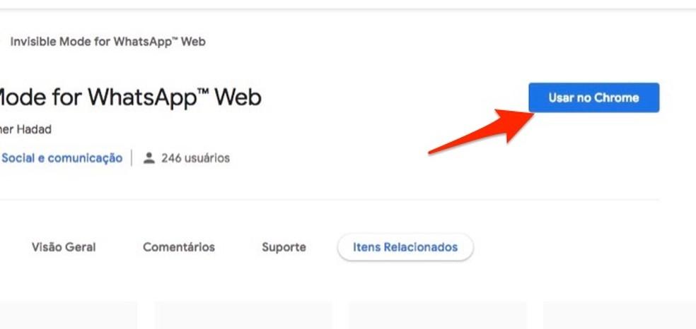 Ação para preparar o download da extensão Invisible Mode for WhatsApp Web — Foto: Reprodução/Marvin Costa