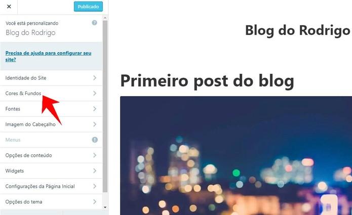 WordPress permite alterar temas, cores e fontes do seu site (Foto: Reprodução/Rodrigo Fernandes)