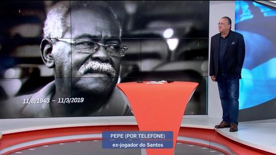 Galvão Bueno se emociona ao falar com Pepe e homenagear Coutinho, ídolos do Santos