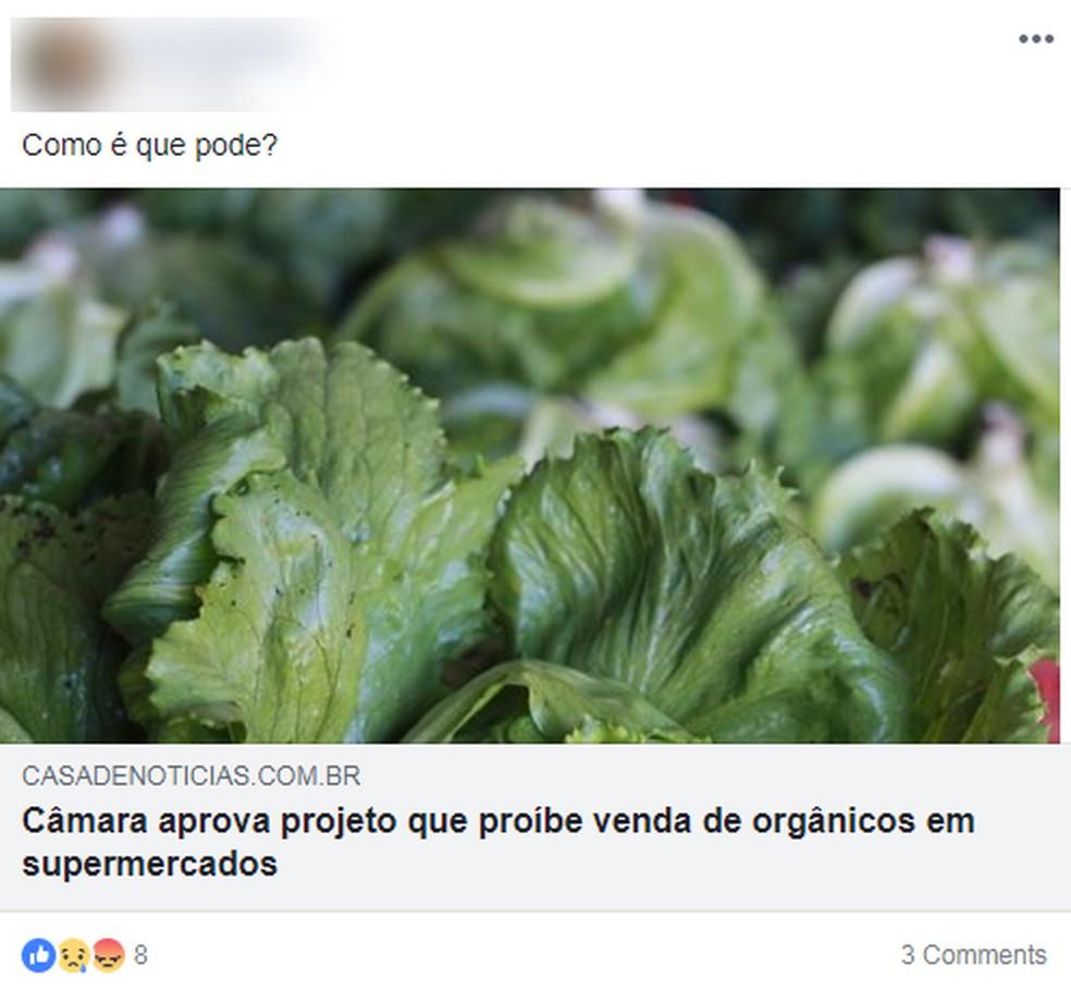 Várias pessoas compartilharam textos com a informação equivocada (Foto: Reprodução/Facebook)