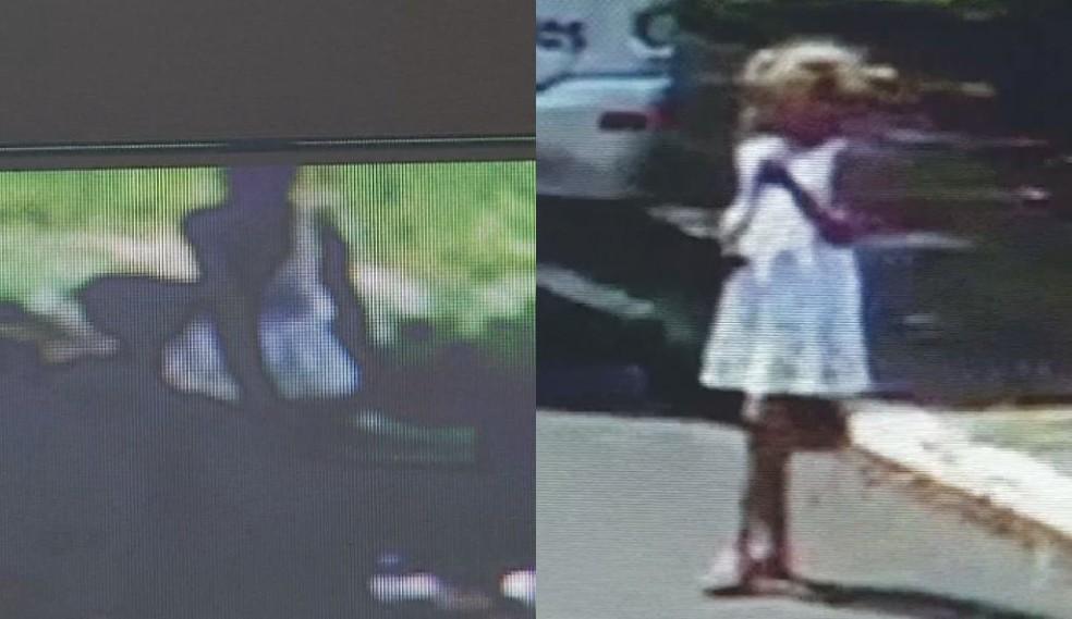 Câmera de segurança mostra menina em praça momentos antes de desaparecer em Chavantes — Foto: Câmera de segurança/Reprodução