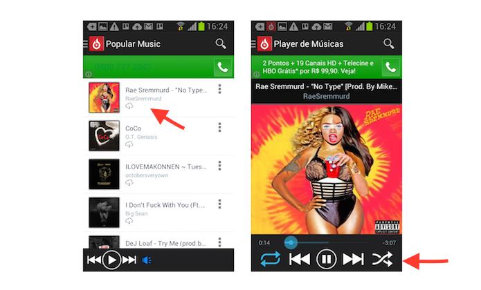 Ouvindo uma música através do aplicativo Ouvela no Android (Foto: Reprodução/Marvin Costa)