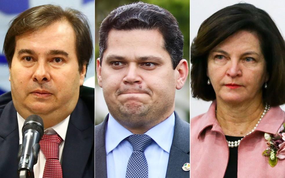 Lista de vítimas de hackers inclui Maia, Alcolumbre e Raquel Dodge — Foto: Fabio Rodrigues Pozzebom/Agência Brasil; Marcelo Camargo/Agência Brasil