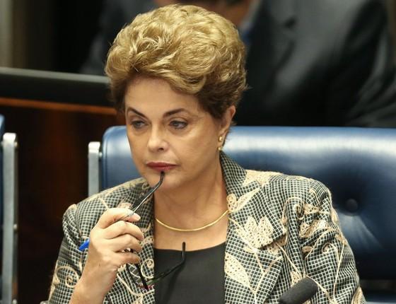 Presidente afastada Dilma Rousseff durante defesa no Plenário do Senado (Foto:  André Coelho/Agência O Globo)