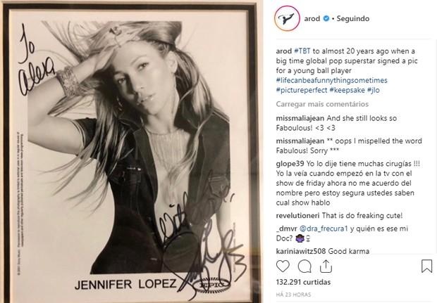 Namorado de Jennifer Lopez mostra autógrafo que ganhou dela há quase 20 anos (Foto: Reprodução/Instagram)