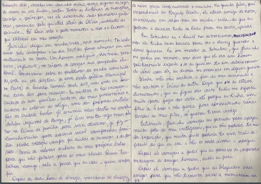 Caso Henry Borel: carta de Monique Medeiros (parte 2) — Foto: Reprodução